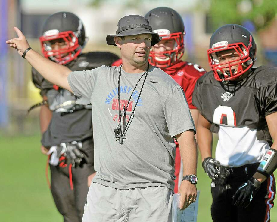 Chris Eckert on the practice field Wednesday afternoon enters his third season as head coach for the Cromwell Panthers. Photo: Catherine Avalone —The Middletown Press  / TheMiddletownPress