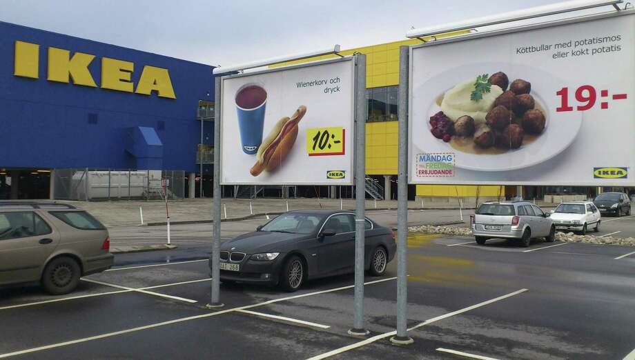 Advertising for Ikea meat balls at the parking area at an Ikea store in Malmo  Sweden Monday Feb. 25, 2012. Furniture retailer Ikea says it has halted all sales of meat balls in Sweden after Czech authorities detected horse meat in frozen meatballs that were labeled as beef and pork. (AP Photo/Johannes Cleris) Photo: ASSOCIATED PRESS / AP2013