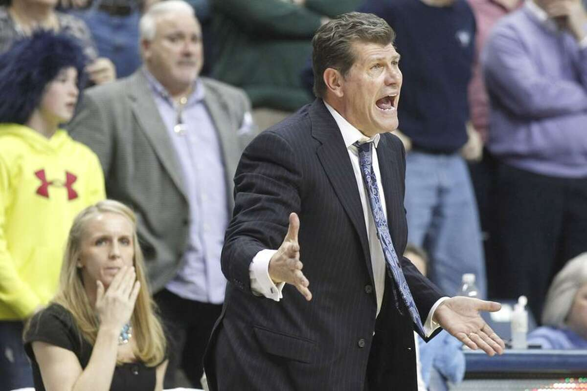 Feb 18, 2012; Storrs, CT, USA; Connecticut Huskies head coach Geno Auriemma watches from the sideline in the second half as they take on the St. John's Red Storm at Gampel Pavilion. St. Johns defeated the Connecticut Huskies 57-56. Mandatory Credit: David Butler II-US PRESSWIRE