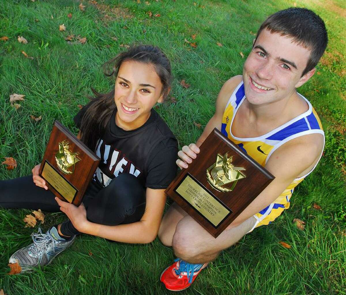 CATHERINE AVALONE/THE MIDDLETOWN PRESSValley Regional sophomore Samantha McKosky ran a 19:02.5 and Haddam-Killingworth senior Peter Brandon ran a 16:05.6 to place first individually at the Shoreline Cross Country Championships Thursday afternoon at John Winthrop Middle School in Deep River.
