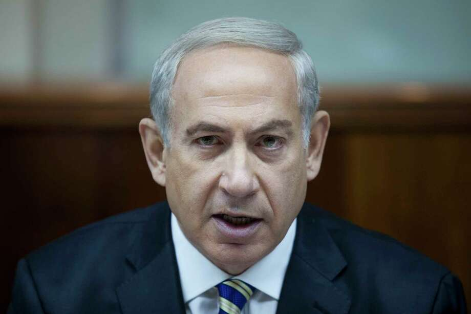 """Israeli Prime Minister Benjamin Netanyahu chairs the weekly cabinet meeting in Jerusalem, Israel, Sunday, September 1, 2013. The sharpest rhetoric over any potential U.S. strike against Syria has come out of Iran, a close ally and patron of Syria. The head of Iran's powerful Revolutionary Guards warned Thursday that an attack on Syria would mean """"the immediate destruction of Israel."""" (AP Photo/Abir Sultan, Pool) Photo: AP / EPA- POOL"""