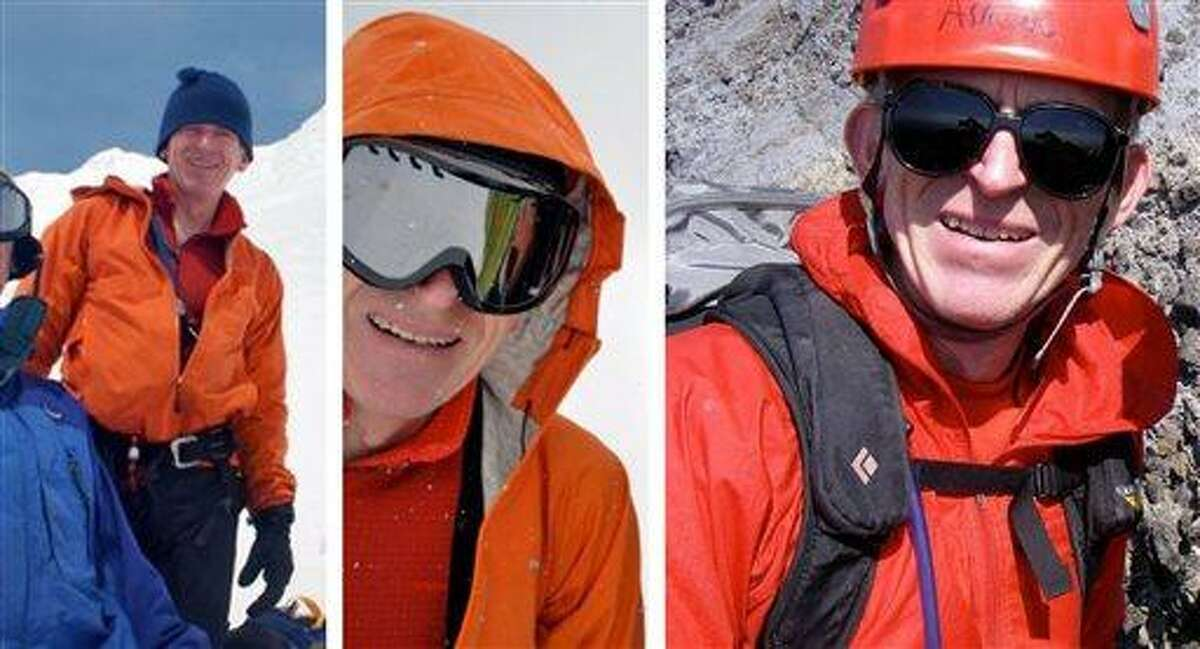 This photo combination provided by the Clackamas County Sheriff's office shows 59-year-old Salem, Ore., dentist Kinley Adams, who failed to return last Saturday from a climb on the west side of Oregon's Mount Hood. Adams is believed to be on the upper part of the mountain where storms this week have prevented searchers from looking, but clearing skies are giving searchers a chance to search those areas Friday, June 28, 2013. (AP Photo/Clackamas County Sheriff)