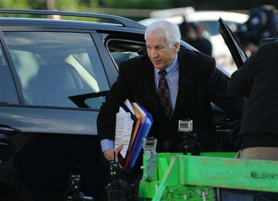 Former Penn State University assistant football coach Jerry Sandusky arrives for the third day of his trial at the Centre County Courthouse in Bellefonte, Pa., Wednesday.   Associated Press Photo: AP / Centre Daily Times