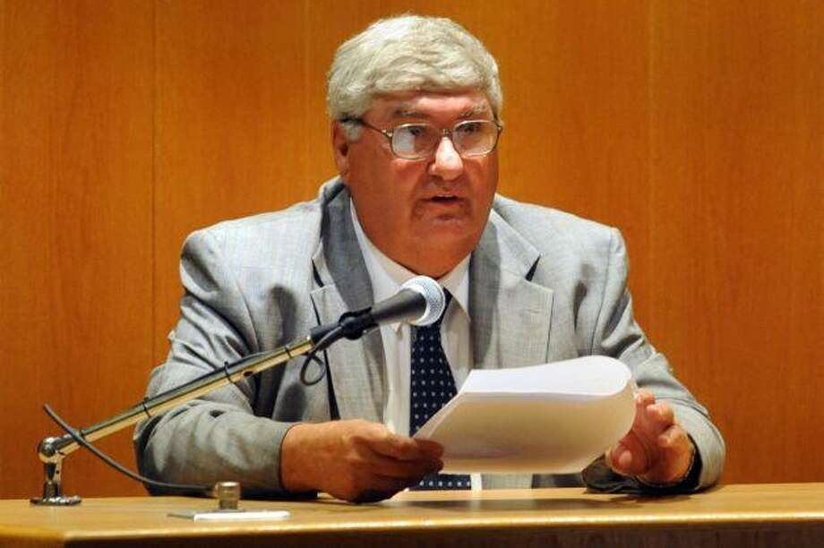 Judge Robert Brunetti reads in court during the Domenic Badaracco trial. Pool photo by Connecticut Post.