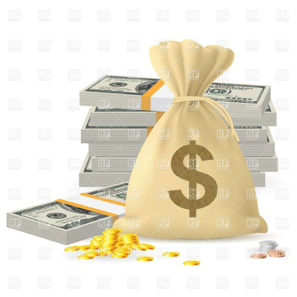 Piles of money in the form of Cash and Gold coins, with Money sack