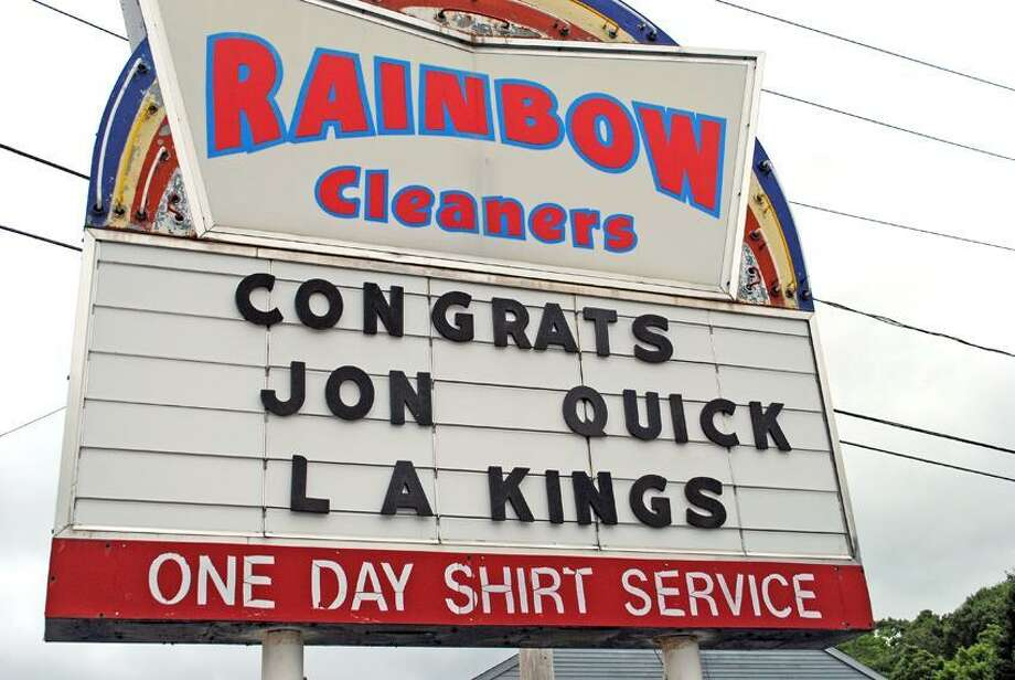 Jon Quick, hockey goalie for the Kings, was congratulated by Rainbow Cleaners after the Kings won the Stanley Cup Monday. Working at Rainbow Cleaners was Quick's first job years ago. The coach he had years ago at Hamden high school works there right now. Jen Fengler for the New Haven Register