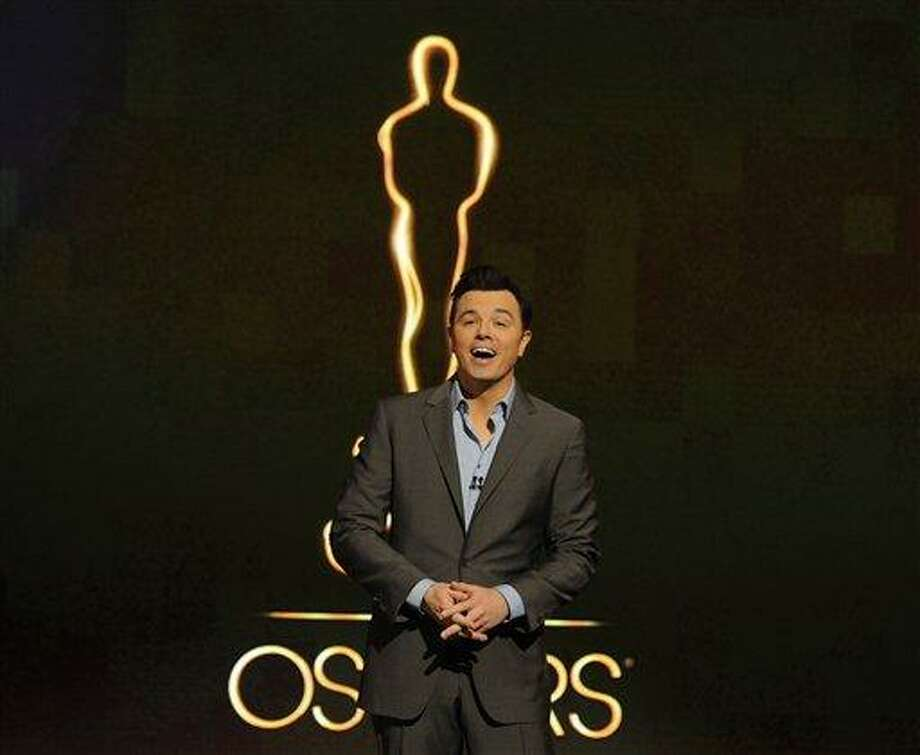 FILE - In this Jan. 13, 2013 file photo, 2013 Oscar host Seth MacFarlane presents the Academy nominations for the 85th Academy Awards in Beverly Hills, Calif. MacFarlane discussed his preparations for the Oscar ceremony during interviews Tuesday, Feb. 12, 2013, at the Dolby Theatre. The 85th Annual Academy Awards will take place on Sunday, Feb. 24 at the Dolby Theatre in Los Angeles. Photo:  Chris Pizzello/Invision/AP Photo / Invision2013