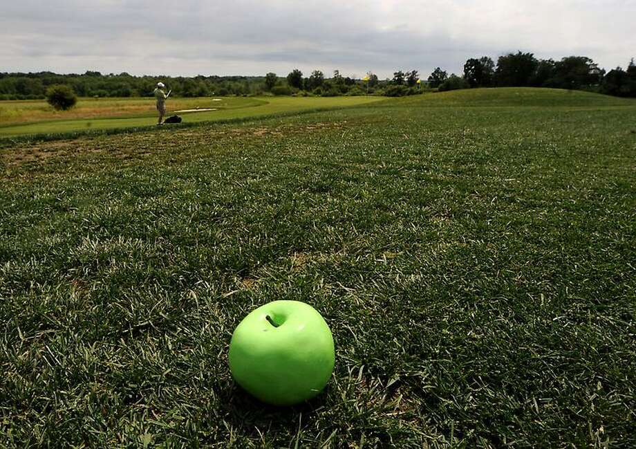 The Golf Center at Lyman Orchards and Lyman's new Apple Nine Course, in Middlefield. Tee markers cast from an apple. Mara Lavitt/New Haven Register6/11/12