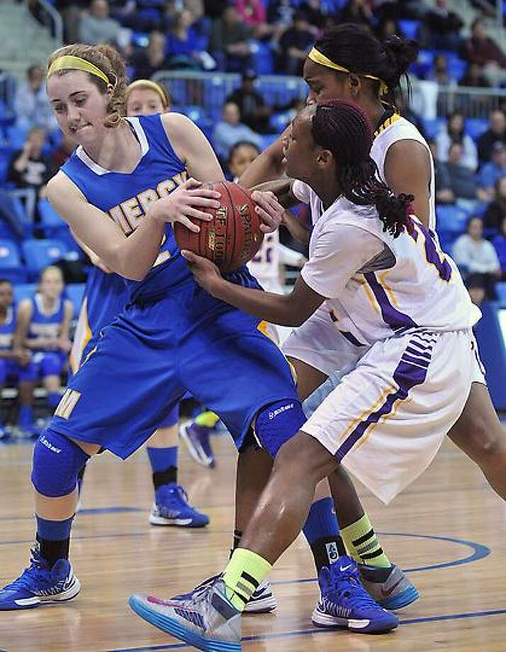 Hamden-- Career Vs Mercy girls championship basketball at the TD Bank Sports Center in Hamden.  Photo-Peter Casolino