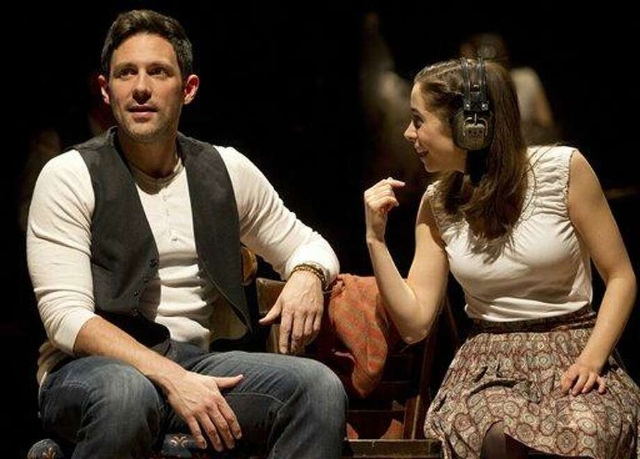 "In this theater image released by Boneau/Bryan-Brown, Steve Kazee, left, and Cristin Milioti are shown in a scene from ""Once,"" in New York. Milioti is nominated for a Tony Award for best actress in a musical. The Tony Awards will be held on Sunday, June 10 on CBS. Associated Press Photo: AP / AP2012"