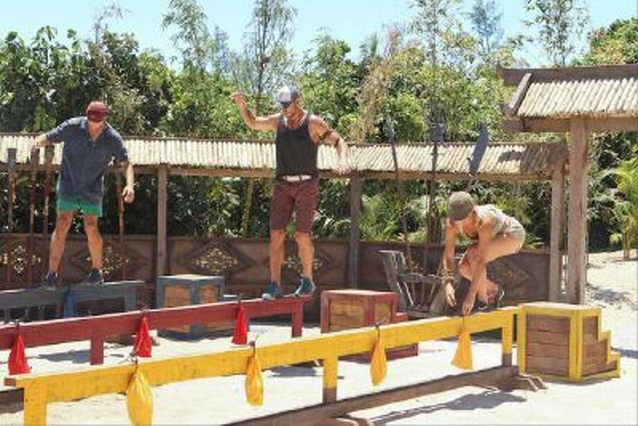 John Cody, Brad Culpepper, and Laura Morett compete in the Redemption Challenge.