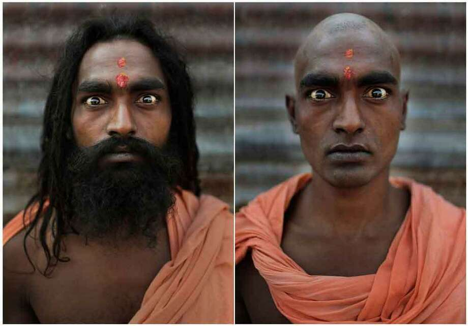 In this combination of two photos taken Wednesday, Feb. 13, 2013, Hindu holy man Baba Sanjay poses before, left, and after, right, he had his head and face shaved as part of an initiation ritual where he was to become a Naga Sadhu, or naked holy man, at the Maha Kumbh Festival at Sangam, the confluence of the holy rivers Ganges, Yamuna and mythical Saraswati, in Allahabad, India. The initiation of new Naga Sadhus can only be performed at the Kumbh Mela in Allahabad, which occurs once every 12 years and sees millions of devotees converging on the northern Indian city. (AP Photo/Kevin Frayer) Photo: ASSOCIATED PRESS / AP2013