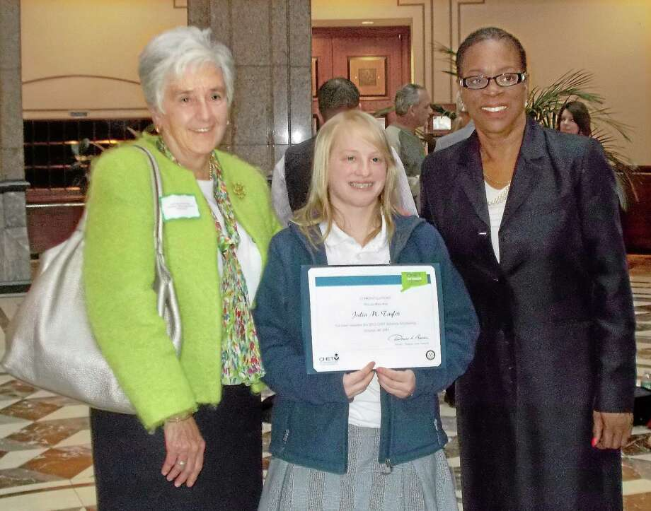 Left to right, Sister Mary McCarthy, Mercy High student Julia Taylor and state Treasurer Denise Nappier. Photo: Submitted Photo