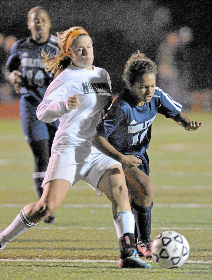 Middletown sophomore forward Samantha Fletcher makes an attempt to break through Northwest Catholic defense Wednesday night in the CCC championship game at Skubel-Rosek Stadium in Middletown. Northwest Catholic defeated Middletown 2-1. Photo: Catherine Avalone — The Middletown Press  / TheMiddletownPress
