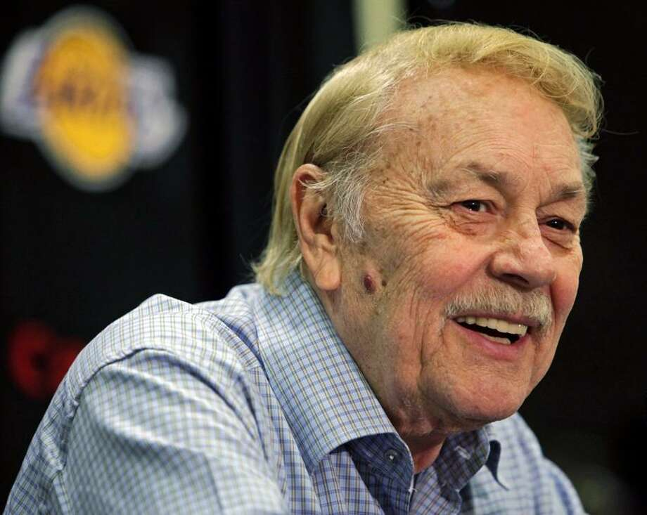 Los Angeles Lakers owner Jerry Buss, pictured in this Associated Press file photo from August, 2010, has died. Buss was hospitalized last week because of cancer. Photo: AP / A2010