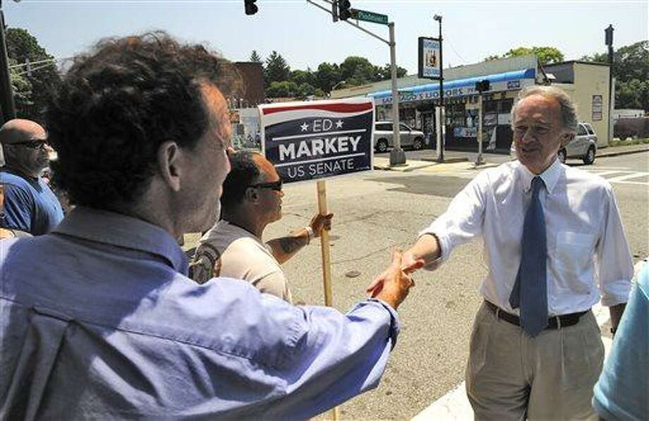 Massachusetts Senate Democratic candidate Ed Markey, right, meets and greets grassroots volunteers and supporters at the Pickle Barrel Restaurant & Deli, in Worcester, Mass., Monday, June 24, 2013. Markey and Republican Gabriel Gomez made appeals to voters Monday in the final hours before Massachusetts' special election for the U.S. Senate, where turnout is expected to be light, a contrast to the high-profile special election in the state three years ago. (AP Photo/Worcester Telegram & Gazette, John Ferrarone) Photo: AP / Worcester Telegram & Gazette