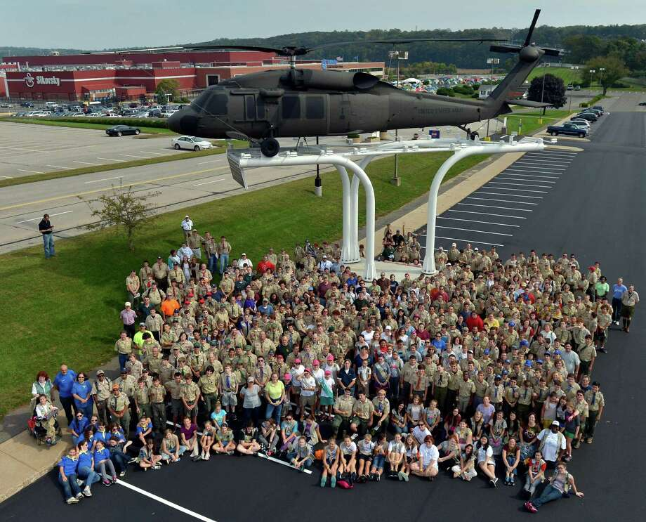 A view of the boy and girl scouts participating in the 11th annual Camp Sikorsky.