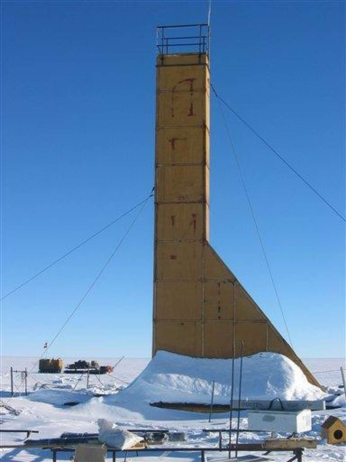 This Jan. 9, 2007 photo provided by the Arctic and Antarctic Research Institute of St. Petersburg shows the Russian drilling machine 5-G in Antarctica. The research institute said Wednesday it has reached Lake Vostok, Antarctica's largest icebound freshwater lake, which has been sealed off for millions of years, after more than two decades of drilling. The breakthrough has been eagerly anticipated by scientists who hope to find virgin clues about the progenitors of life on earth and other planets. Associated Press