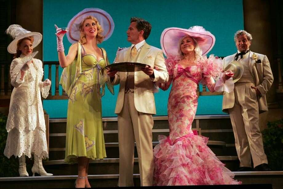 "Mary Jo McConnell, Erin Denman, James Lloyd Reynolds, Louise Pitre and Eric Jon Mahlum in Goodspeeds ""Mame."" (Photo by Diane Sobolewski)"