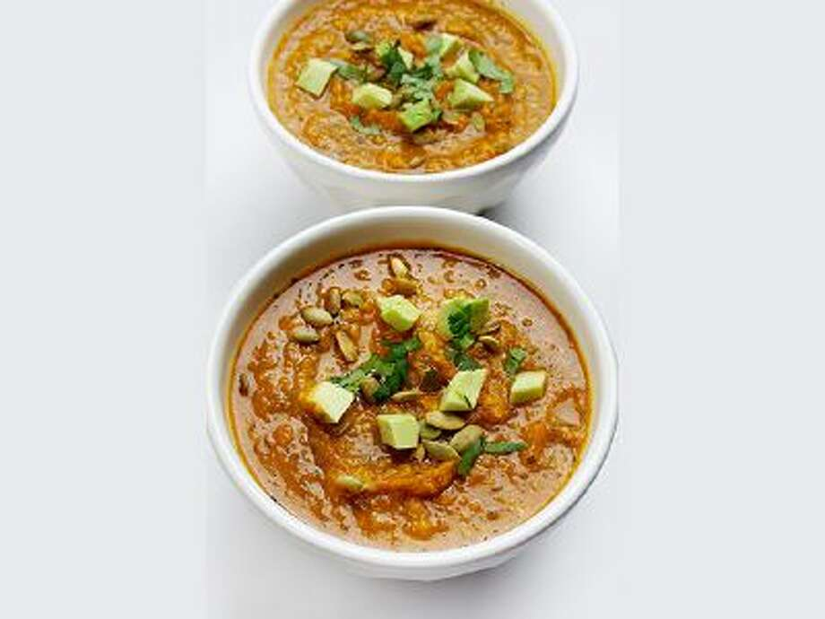 Corn tortillas thicken this Pumpkin Tortilla Soup in a flavorful way, and toasted pumpkin seeds can be used for garnish. / Deb Lindsey