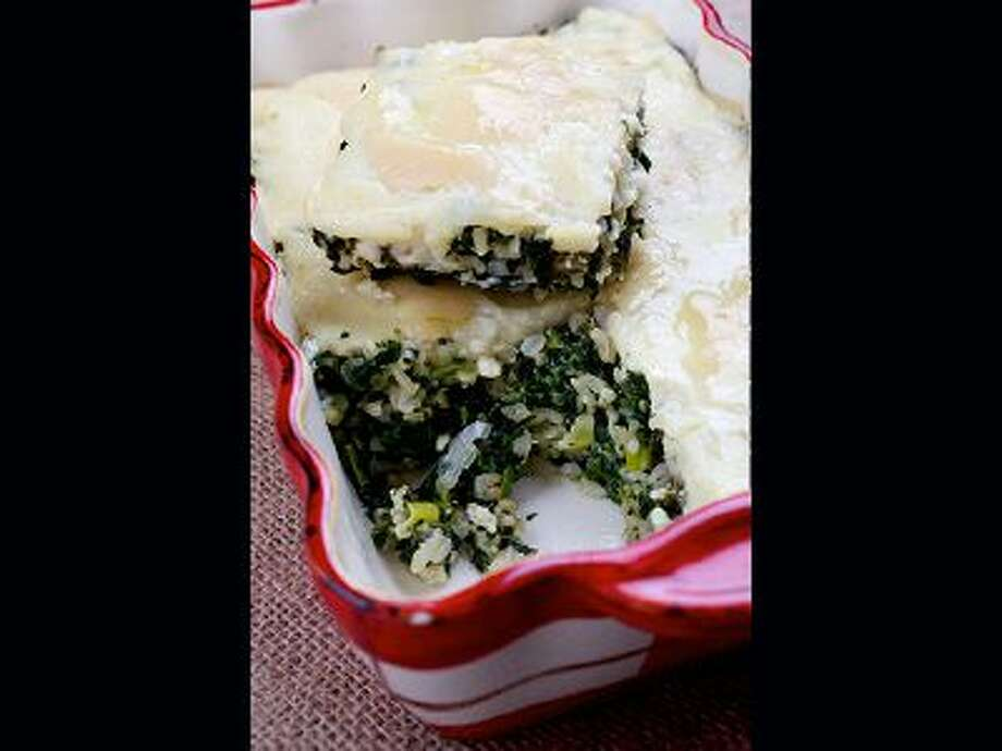 A box of frozen chopped spinach opens up a world of culinary possibilities, include this Spinach and Rice Casserole. / Deb Lindsey