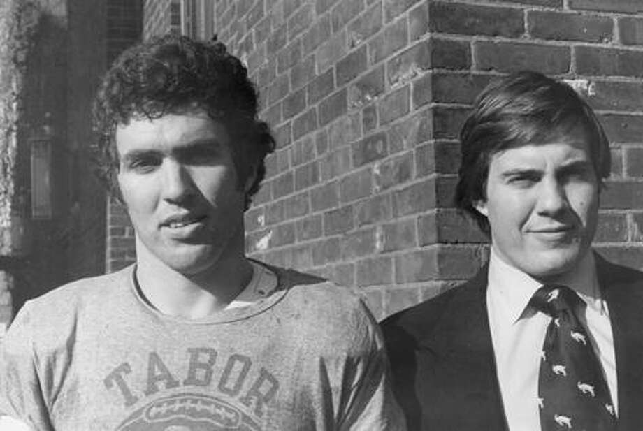 Bill Belichick, right, stands with lacrosse co-captain David Campbell in 1975 on the Wesleyan campus. Photo courtesy of Wesleyan University.