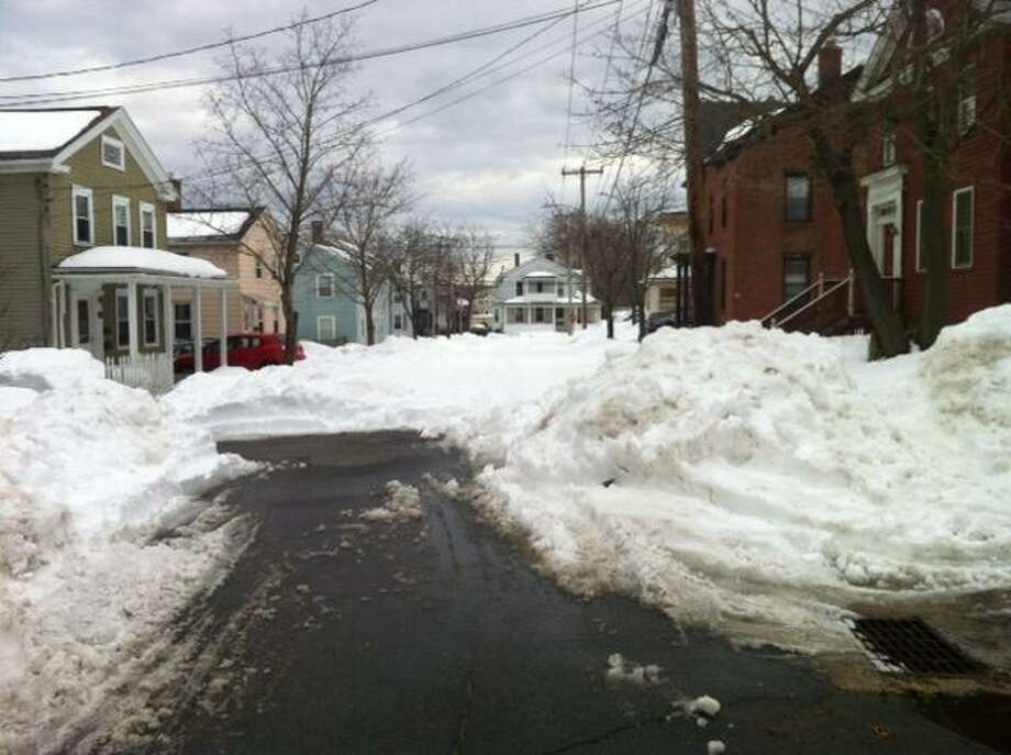 Pearl Street in Middletown around 2 p.m. - a plow came by a few minutes after this was taken.