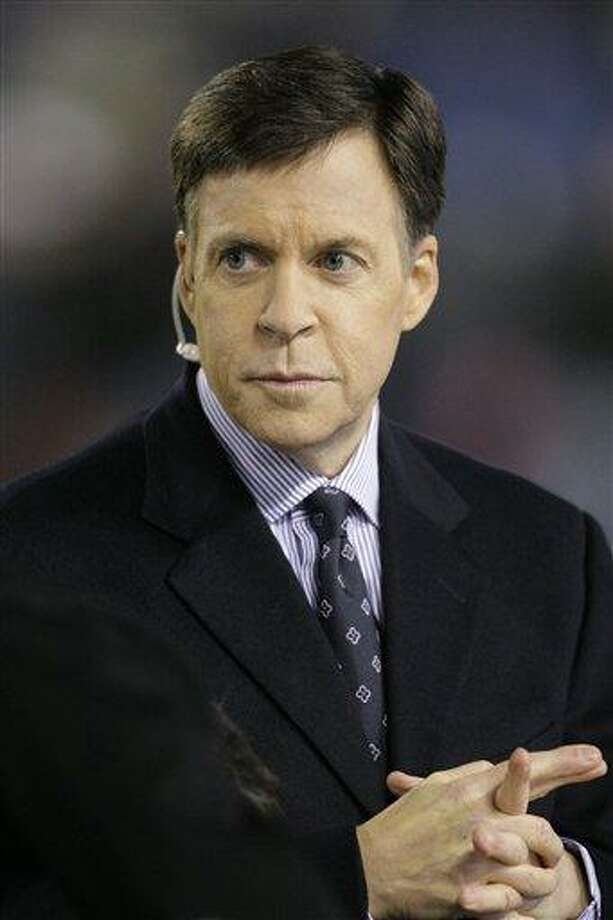 FILE- In this Nov. 22, 2009, file photo, Sportscaster Bob Costas is seen before an NFL football game between the Chicago Bears and Philadelphia Eagles in Chicago. Costas noted a controversy over honoring Israeli athletes killed at the Olympics 40 years ago during his coverage of the opening ceremony a the London Olympics, but stopped short of offering his own protest. (AP Photo/Charles Rex Arbogast, File) Photo: AP / AP
