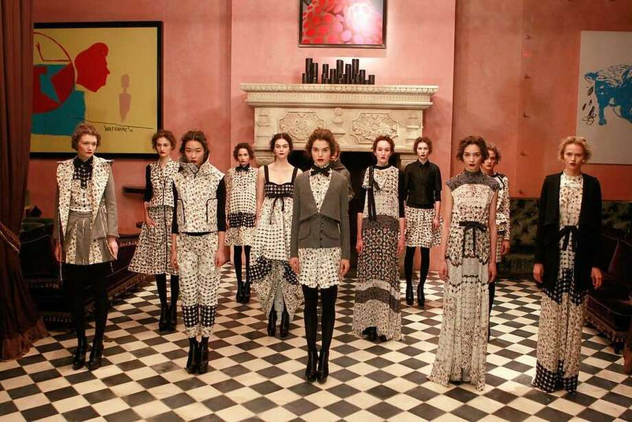 Models pose at the Brood by Serkan Sarier fall 2013 presentation during Mercedes-Benz Fashion Week at the Rose Bar at Gramercy Park Hotel on February 11, 2013 in New York City. (Photo by Mark Von Holden/Getty Images) / 2013 Getty Images
