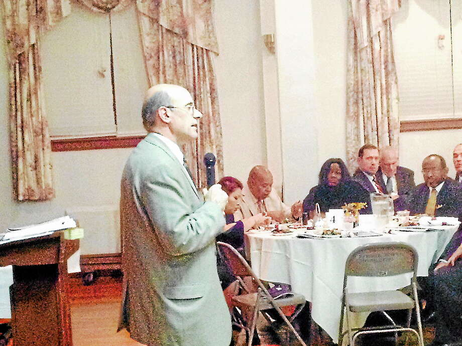 Retired FBI agent Perry Forgione speaks on the controversial Stand Your Ground law at Thursday's Middlesex County NAACP Freedom Fund dinner. Photo: Michael T. Lyle Jr. - The Middletown Press