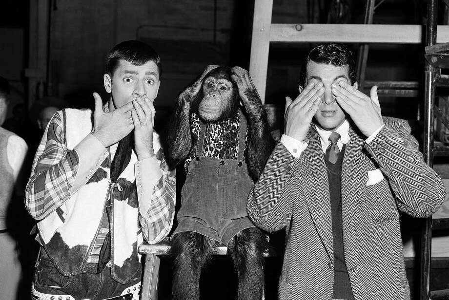 Some Hollywood press agent must have wracked his brains to come up with this version of an old Chinese proverb for a publicity stunt.   The actors from left to right are Jerry Lewis, Pierre, and Dean Martin shown July 13, 1950.   (AP Photo/Paramount) Photo: ASSOCIATED PRESS / AP1950