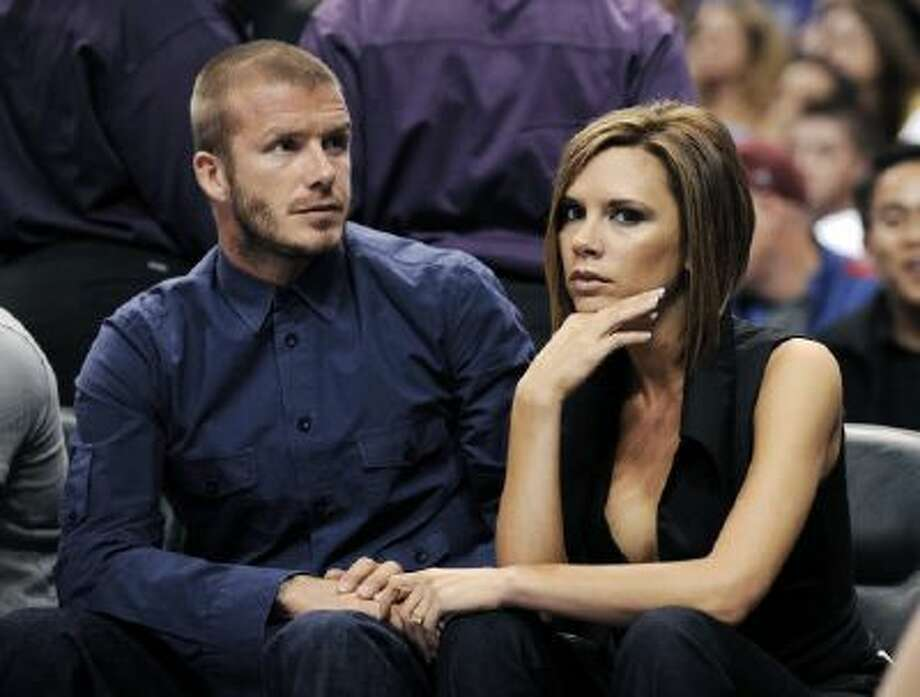 David Beckham and wife Victoria catch a Lakers game in 2008.