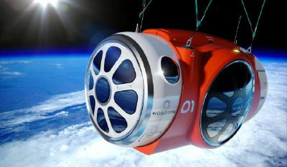 This artist's rendering provided by World View Enterprises on Tuesday, Oct. 22, 2013 shows their design for a capsule lifted by a high-altitude balloon up 19 miles into the air for tourists.