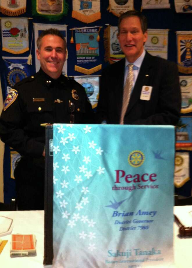 Middletown Police Chief William McKenna, left, and Middletown Rotary President Jeff Walter. (submitted photo)