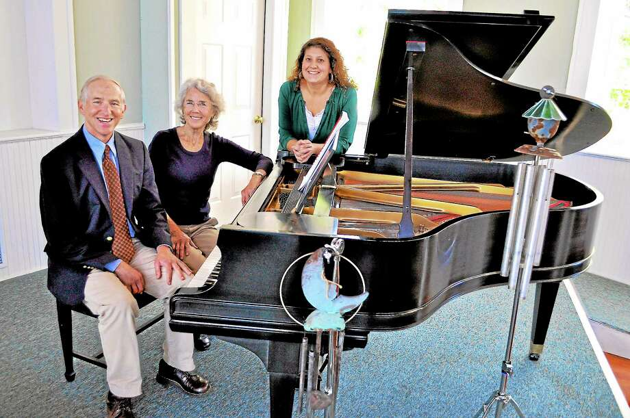 Submitted photo - Community Music SchoolFrom left, Community Music School Music Director Tom Briggs, CMS Founder and Faculty Member Patricia (Paddy) Hurley and CMS Executive Director Robin Andreoli prepare for the 30th Anniversary Faculty Concert at the Centerbrook Meetinghouse on Nov. 10. Photo: Journal Register Co.