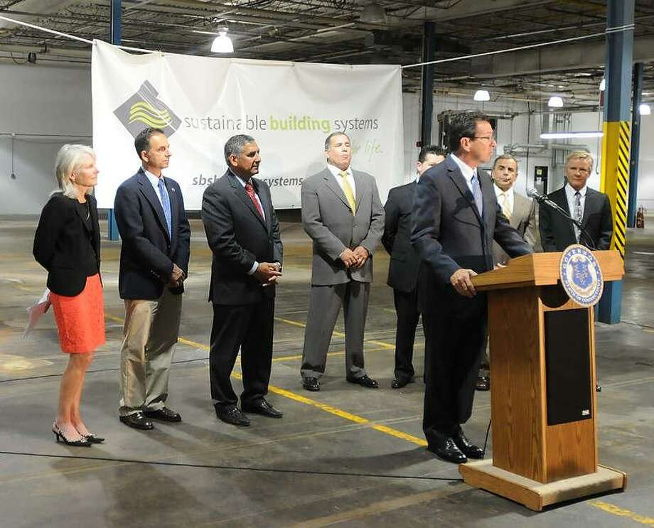 Gov. Dannel P. Malloy announced during a press conference Wednesday that Sustainable Building Systems will open its headquarters in North Haven. Peter Hvizdak/Register Photo: New Haven Register / ©Peter Hvizdak /  New Haven Register