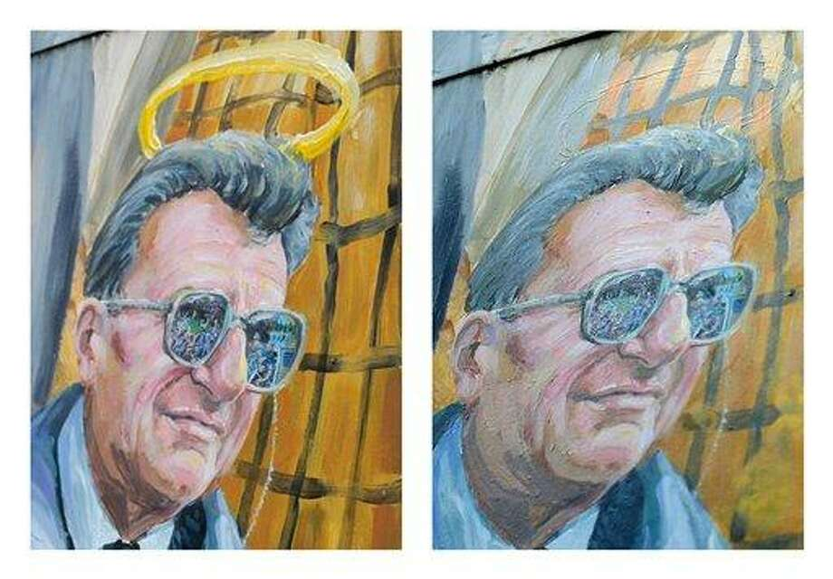 This combination of two photos shows a detail of a mural by Michael Pilato in State College, Pa., depicting a halo over the late Penn State football coach Joe Paterno in January, left, and the halo removed by the artist on Saturday. Pilato had put a halo over Paterno's image after the beloved coach's death in January, but said he felt he had to remove it Saturday after a report that Paterno, former university president Graham Spanier and others buried allegations of child sex abuse against ex-assistant Jerry Sandusky. Paterno's family denies the claim. Associated Press Photo: AP / Centre Daily Times