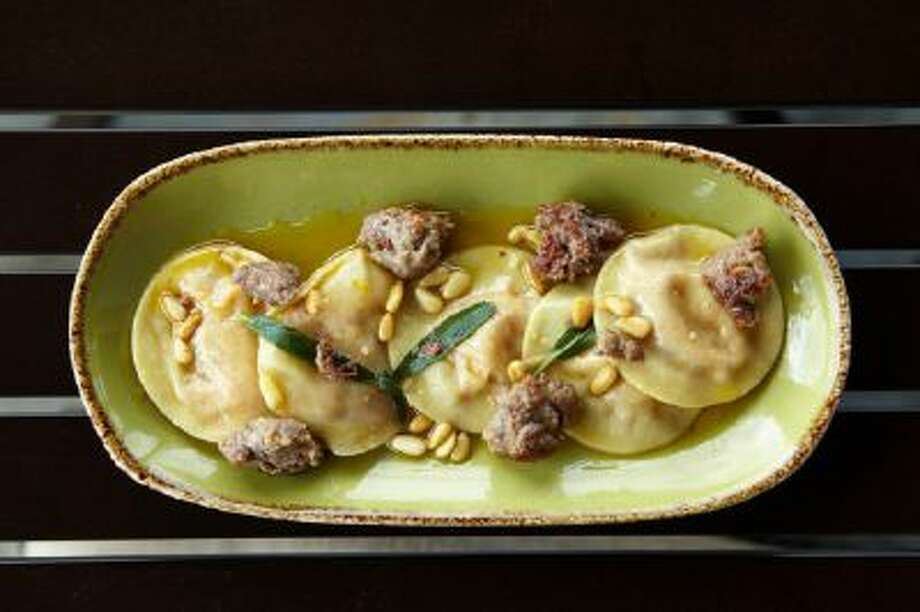 Sweet Potato Ravioli with Sausage and Sage Brown Butter.