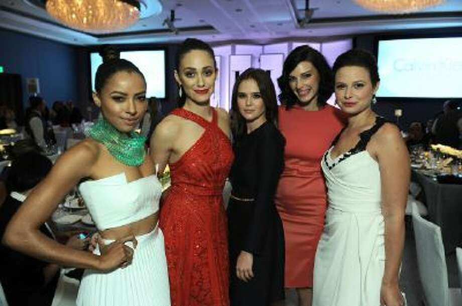 """From left, actresses Kat Graham, Emmy Rossum, Zoey Deutch, Jessica Pare and Katie Lowes attend the ELLE 20th annual """"Women in Hollywood"""" event at the Four Seasons Hotel on Monday, Oct. 21, 2013 in Los Angeles."""