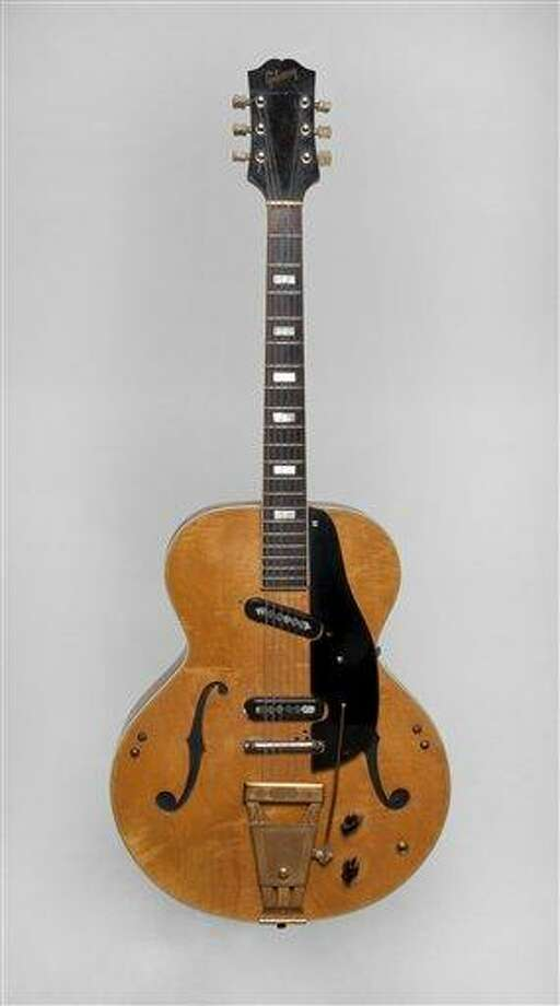 This undated image released by Julien's Auctions shows Les Paul's 1940s Epiphone Zephyr 7133 Klunker Guitar. This item is part of Les Paul's guitars and recording gear up for auction at Julien's Auctions from June 8 to June 10 in Beverly Hills, Calif. Associated Press Photo: AP / Julien's Auctions