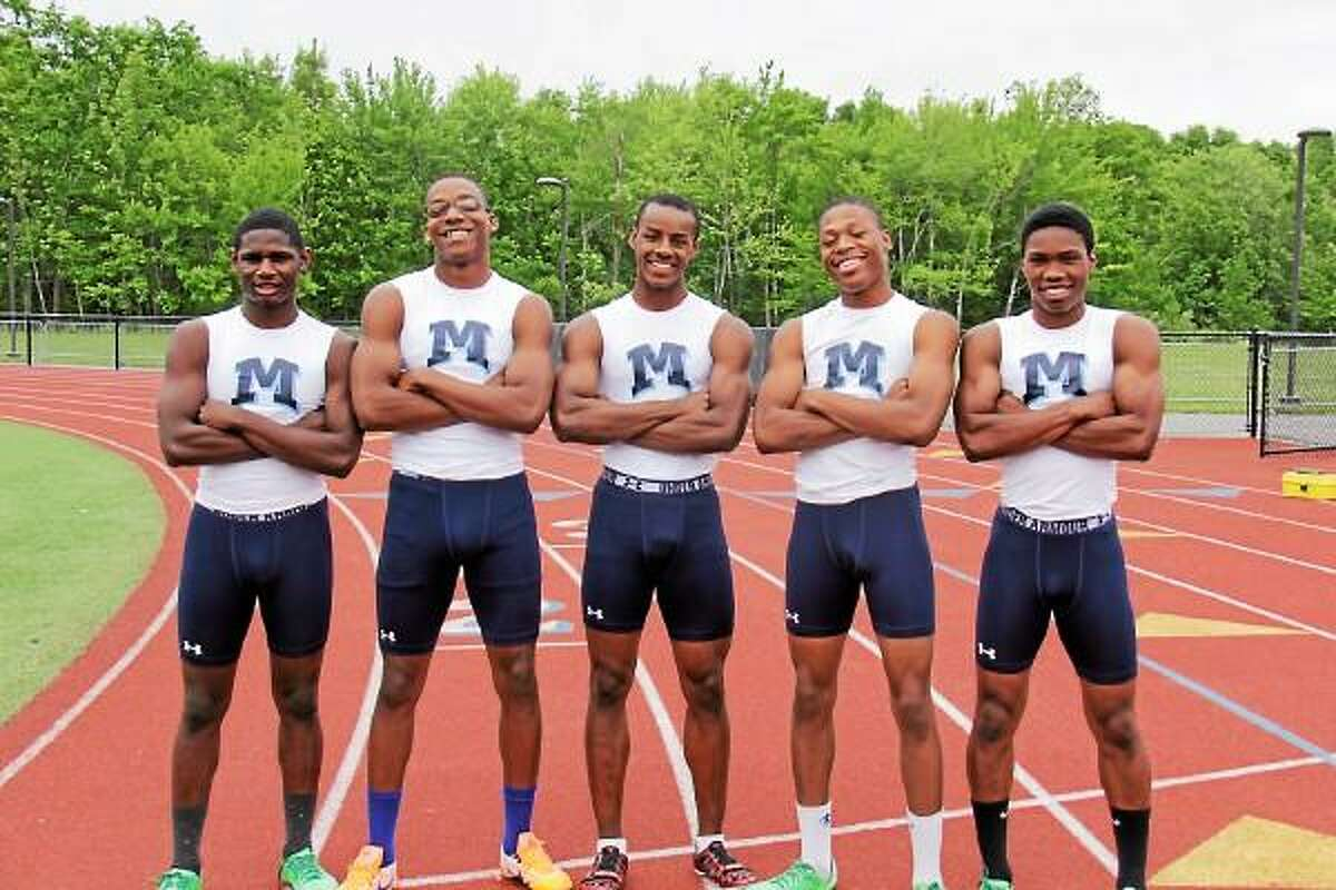 From left to right O'Brian Sinclair (2013), Jashane Brown (2013), Marcus Alleyne (2016), Denzell Dempsey (2013) and London Highsmith (2014) will all be competing in this weekend's New Balance Outdoor Track and Field meet. Submitted Photo.