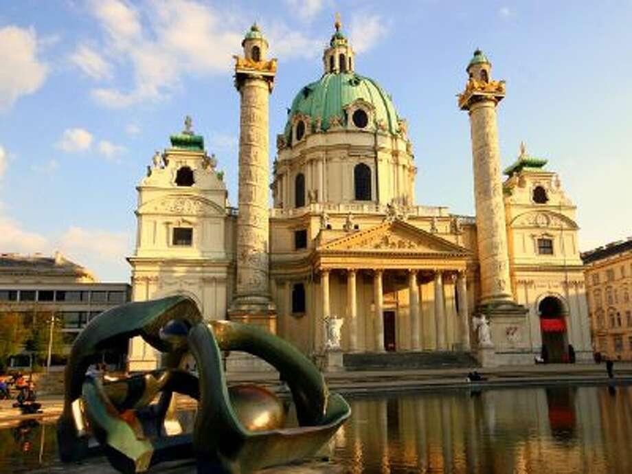 The Karlskirche (St. Charles Church) in Vienna, Austria.
