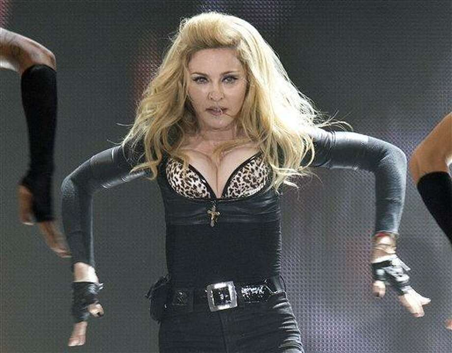 Pop superstar Madonna performs on stage July 10 during her concert in Cologne, Germany. Associated Press Photo: AP / Copyright 2012 The Associated Press. All rights reserved. This material may not be published, broadcast, rewritten or redistributed.