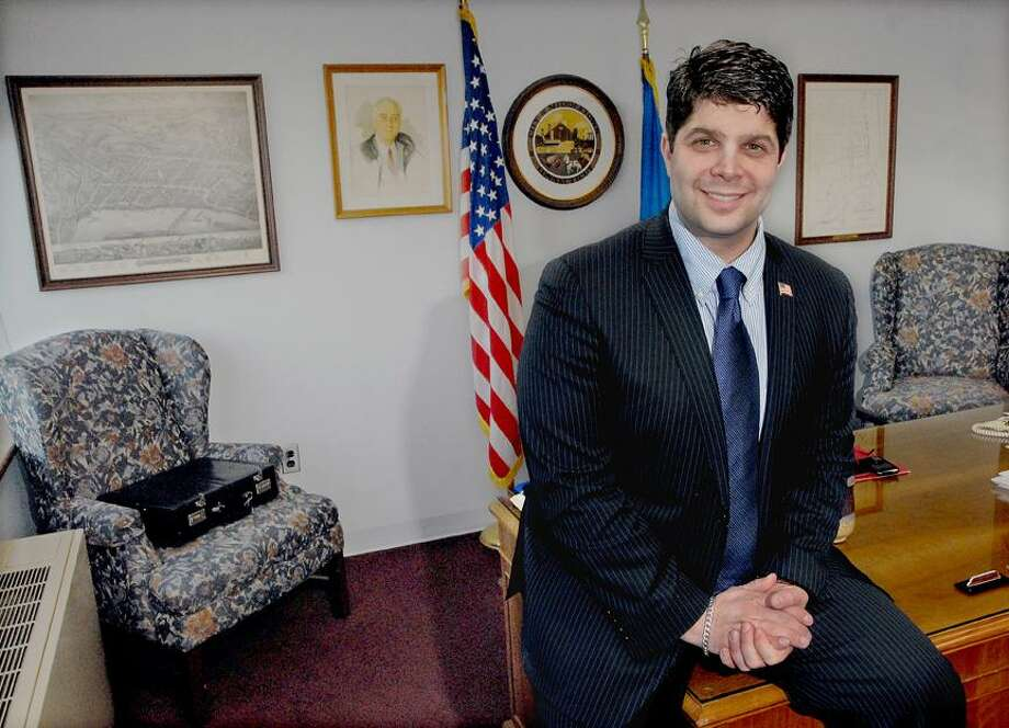 Catherine Avalone/The Middletown PressMiddletown Mayor Dan Drew in his office at city hall.