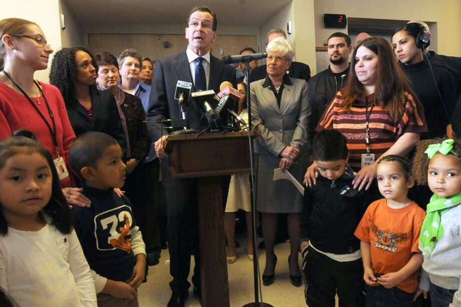 El Centro Family Center, Hartford: Governor Dannel P. Malloy, with Lt. Gov. Nancy Wyman to his left, announced the establishment of the Office of Early Childhood. Mara Lavitt/New Haven Register2/4/13