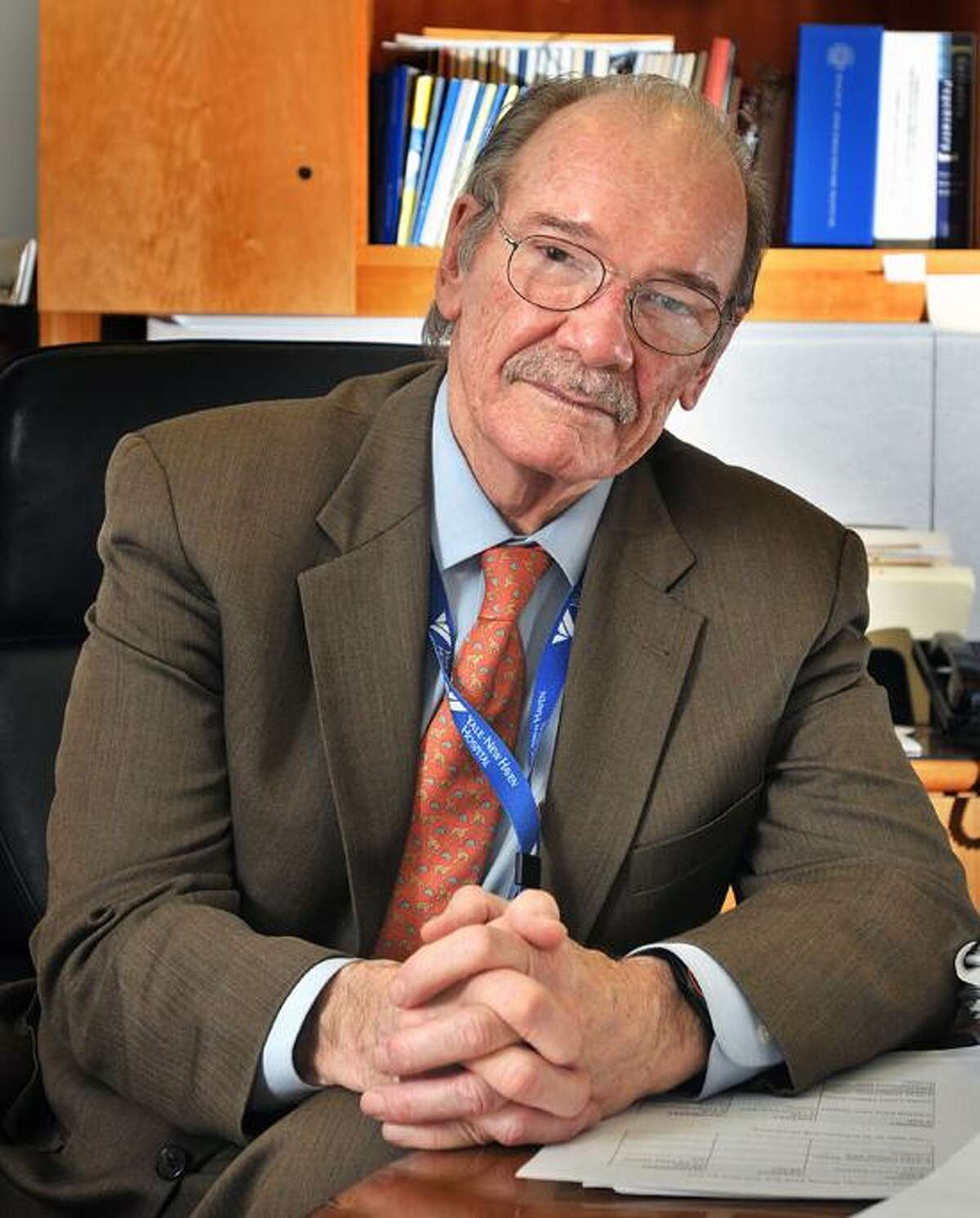 New Haven--Dr. William Sledge, medical director of the Yale-New Haven Psychiatric Hospital in his office at the hospital. Photo-Peter Casolino 1/28/13