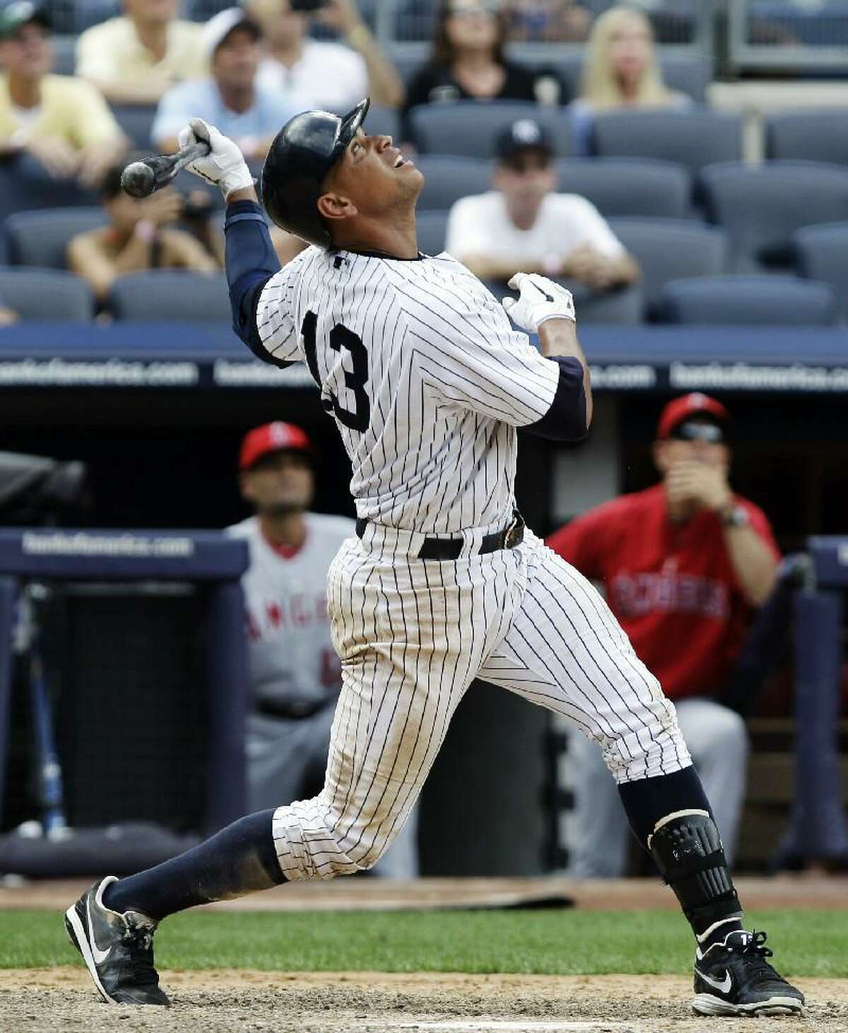 ASSOCIATED PRESS New York Yankees' Alex Rodriguez pops out with the bases loaded in the bottom of the ninth inning of the Yankees' 10-8 loss to the Los Angeles Angels on Sunday at Yankee Stadium in New York.