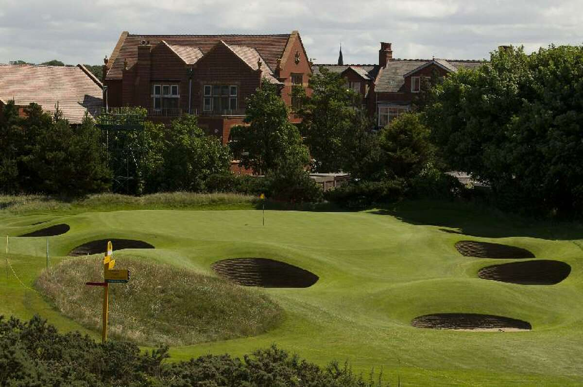 ASSOCIATED PRESS The green on the 9th hole at Royal Lytham & St Annes golf club, site of the British Open, is surrounded by bunkers.