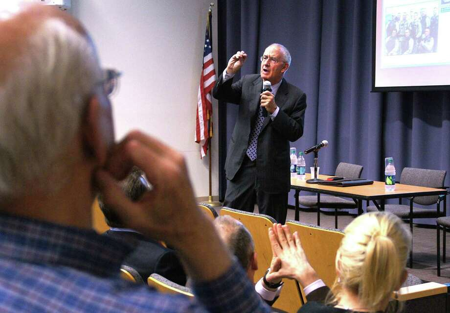 "SONY DSCNew Haven-- Pollster Peter D. Hart of Peter D. Hart Research Associates, speaks at Luce Hall at Yale. The lecture,  ""Election 2012: America in a Transformational Era,"" is the Coca-Cola World Fund at Yale Lecture. The event was sponsored by the Whitney and Betty MacMillan Center for International and Area Studies at Yale, Yale Law School, and Yale School of Management.  Photo- Peter Casolino/New Haven Register 03/22/12"