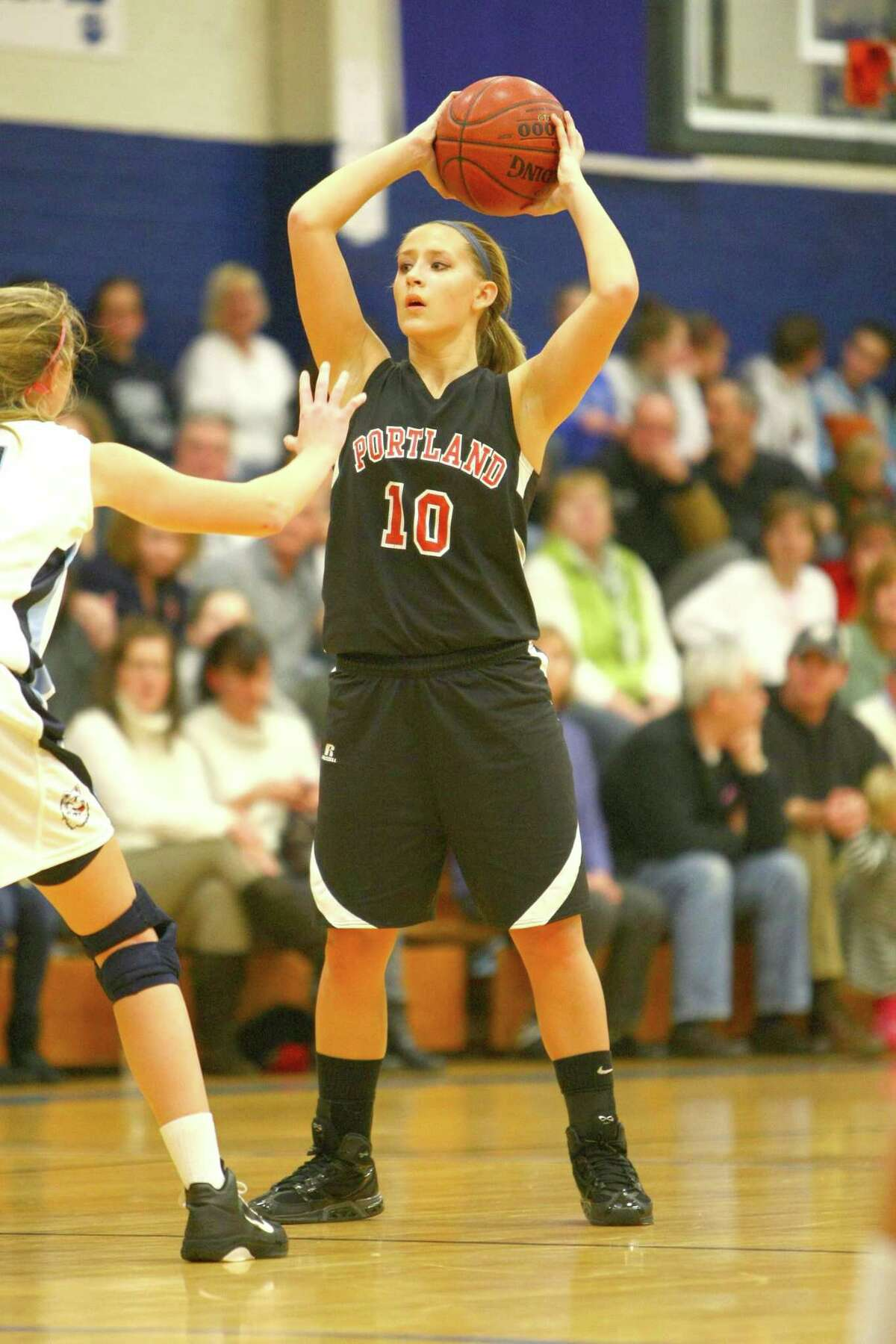 Portland's Alyssa Unikewicz helped Class S-M East to a victory in the CHSCA annual all-star festival. Photo by Chase Smith/Shore Line
